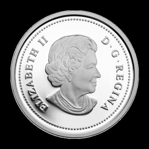 """Hirschkuh und Rehkitze mit Wald im Hintergrund umrandet von den Worten """"Canada 2014 20 Dollars"""" (Kanada 2014 20 Dollar)."""
