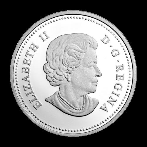 """Kämpfende Rehböcke auf einer Waldwiese, umrandet mit den Worten """"Canada 2014 20 Dollars"""" (Kanada 2014 20 Dollar)."""
