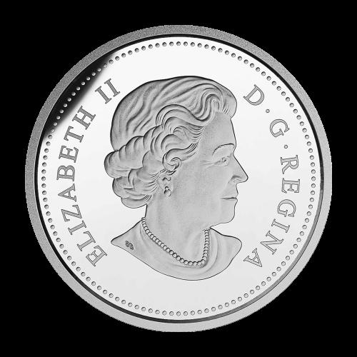 """Ein durch Unterwasserblattwerk schwimmender Hecht, eingekreist von den Worten """"Canada 2015 20 Dollars""""."""