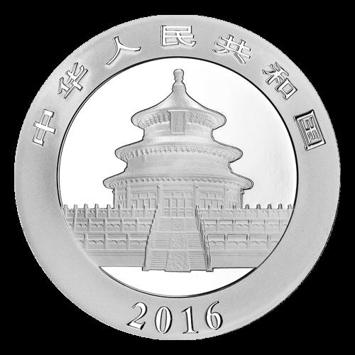 """Ein Panda, der auf einem Ast liegt mit Bambus im Hintergrund und die Worte """"10 Yuan 30 g Ag 999"""" (10 Yuan 30 g Silber 999)."""