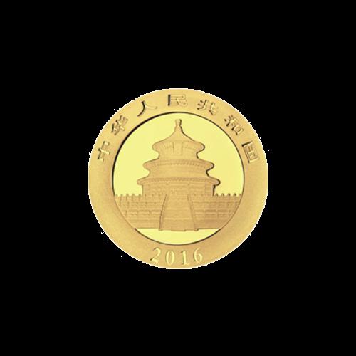"""Ein Panda, der auf einem Ast liegt mit Bambus im Hintergrund und die Worte """"50 Yuan 3 g Au 999"""" (50 Yuan 3 g Gold 999)."""