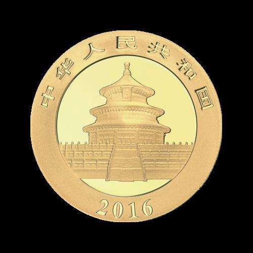 """Ein Panda, der auf einem Ast liegt mit Bambus im Hintergrund und die Worte """"200 Yuan 15 g Au 999"""" (200 Yuan 15 g Gold 999)."""