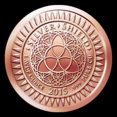 """Das Silver Shield Logo mit dem Trivium in der Mitte, eingekreist von den Worten """"Silver Shield 1 Avdp Ounce 2015 .999 Pure Cu"""" (Silver Shield 1 Avdp oz 2015 .999 reines Kupfer), umgeben von 47 Kugeln."""