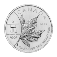1 oz 2008 Canadian Maple Leaf Olympic Privy BU Silver Coin