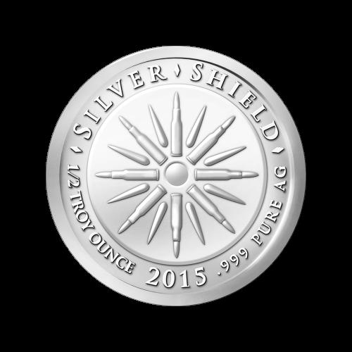 """Das revidierte Silver Shield Logo, mit dem Trivium in der Mitte, eingekreist von den Worten """"Silver Shield 1/2 Troy ounce 2015 .999 Pure AG"""" (Silver Shield 1/2 Troy-oz 2015 .999 Reines SILBER), umgeben von 47 Kugeln."""