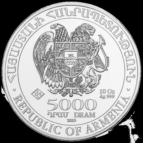Wappen der armenischen Republik - Armenische Republik - 5000 DRAM - 10 oz Silber 999 - LEV Echtheitsstempel (Leipziger Edelmetallverarbeitung)