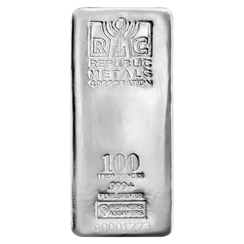100 oz Republic Metals Corp Silver Bar