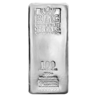 100 oz Republic Metals Corp Zilveren Baar