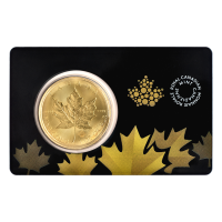 Pièce d'or Maple Leaf canadienne dans carte Certicard 2015 de 1 once