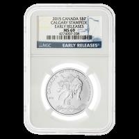 1/2 oz Silbermünze - Calgary Stampede MS-69 blaue Kennzeichnung (eine der ersten Ausgaben) - 2015