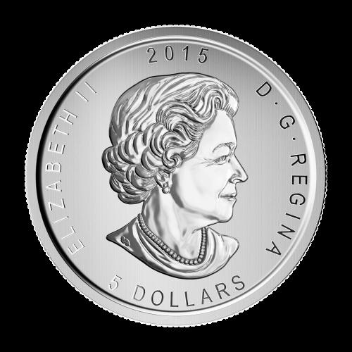 """Ein Virginiauhu, mit ausgestreckten Krallen, von den Worten umgeben """"Canada Fine Silver 1 oz Argent Pur 9999"""" (Kanada Feinsilber 1 oz reines Silber 9999) und die Initialen des Künstlers."""