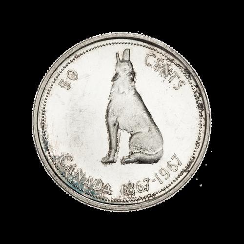 1967 kanadische Silbermünze mit halbem Dollar $0.50 Nennwert im Umlauf 80% reines Silber