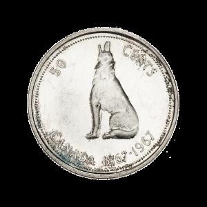 1967 Canadian Silver Half Dollar $0.50 Face Value Circulation 80% Pure Silver Coin