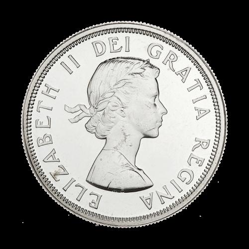 """Kreisemblem der französischen Lilie, des irischen Kleeblatts, der schottischen Distel, der englischen Rose und die Worte """"Canada Dollar 1864 1964 Charlottetown Quebec""""."""