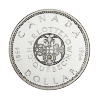 1964 Canadian Silver Dollar $1 Face Value Charlottetown Circulation 80% Pure Silver Coin