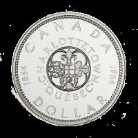 1964 kanadische Silbermünze mit einem Dollar $1 Nennwert, im Umlauf, 80% reines Silber