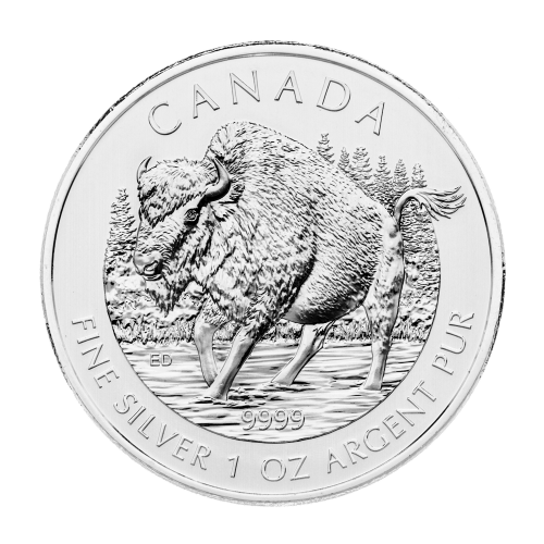 Moneda de Plata Bisonte de los Bosques Canadiense 2013 de 1 oz