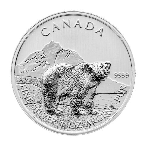 1 oz 2011 Canadian Grizzly Bear Silver Coin