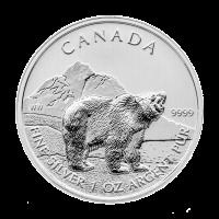 1 oz Silbermünze - kanadischer Grizzlybär - 2011