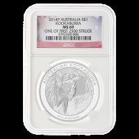 1 oz australische Silbermünze - Kookaburra NGC MS-69 (eine der ersten 2500 geschlagenen Münzen) - 2014
