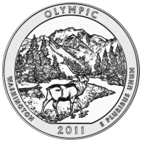 5 uns 2011 America the Beatiful | Olympic Nationalpark Silvermynt