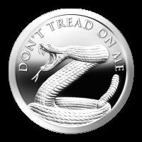 1 oz Silbermedaille Don't Tread on Me (Tritt nicht auf mich)   Chris Duane Privatsammlung - 2014 Zustand: Spiegelglanz