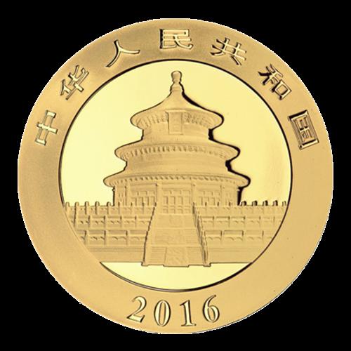 """Ein Panda, der auf einem Ast liegt mit Bambus im Hintergrund und die Worte """"500 Yuan 30 g Au 999"""" (500 Yuan 30 g Gold 999)."""