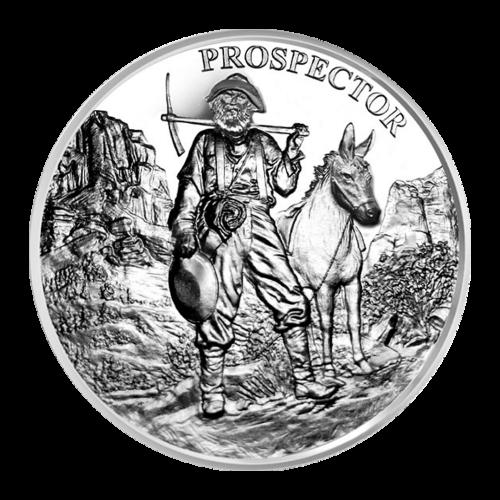 """Goldsucher neben einem Maultier in einem felsigen Tal und die Worte """"Prospector"""" (Goldsucher)."""