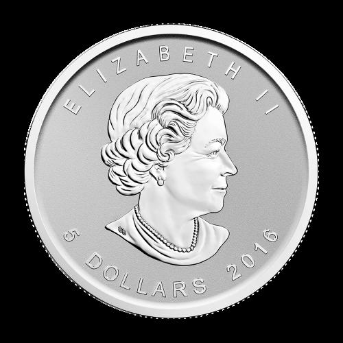 """Ahornblatt, Sonderprägezeichen Affe und die Worte """"Canada 9999 Fine Silver 1 oz Argent Pur 9999"""" (Kanada 9999 Feinsilber 1 oz reines Silber 9999)."""