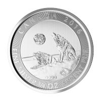 Moneda de Plata Lobos Canadienses Aullando 2016 de 3/4 oz