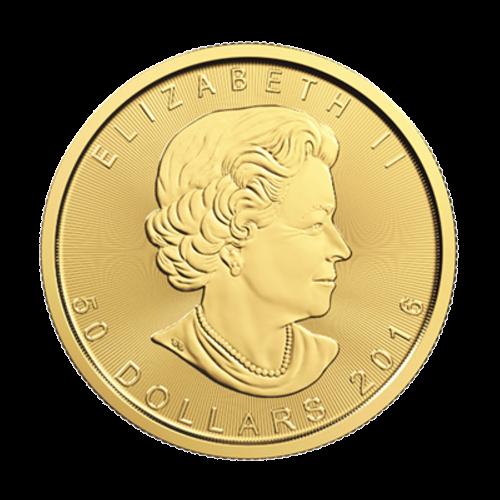"""Ahornblatt und die Worte """"Canada 9999 Fine Gold 1 oz Or Pur 9999"""" (Kanada 9999 Feingold 1 oz reines Gold 9999)."""