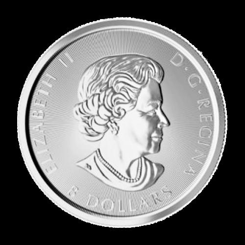 """Bild eines rennenden Bison auf einer Grasebene und die Worte """"Canada 2016 Fine Silver 1 1/4 oz Argent Pur 9999"""" (Kanada 2016 Feinsilber 1 1/4 oz reines Silber 9999), sowie die Initialen des Künstlers."""