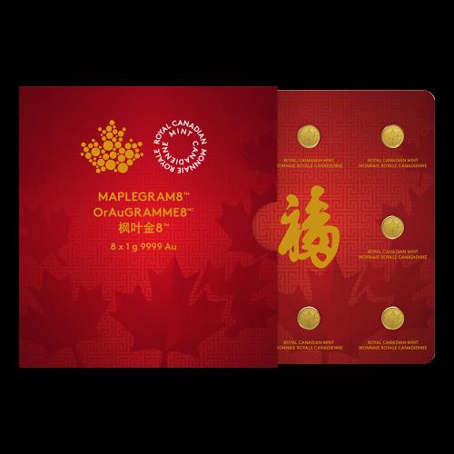 8 g (8 x 1 g) Maplegram8 Bogen mit Goldmünzen - 2016