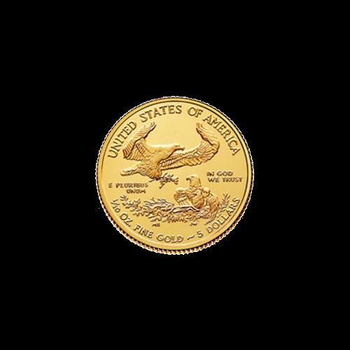 """Ein männlicher Adler mit einem Olivenzweig, der über ein Nest mit einem weiblichen Adler und Jungen fliegt, die Worte """"UNITED STATES OF AMERICA 1/10 oz Fine Gold 5 Dollars"""" (VEREINIGTE STAATEN VON AMERIKA 1/10 oz Feingold 5 Dollar) und die Sätze """"e plurib"""
