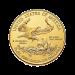 """Ein männlicher Adler mit einem Olivenzweig, der über ein Nest mit einem weiblichen Adler und Jungen fliegt, die Worte """"UNITED STATES OF AMERICA 1/2 oz Fine Gold 25 Dollars"""" (VEREINIGTE STAATEN VON AMERIKA 1/2 oz Feingold 25 Dollar) und die Sätze """"e plurib"""