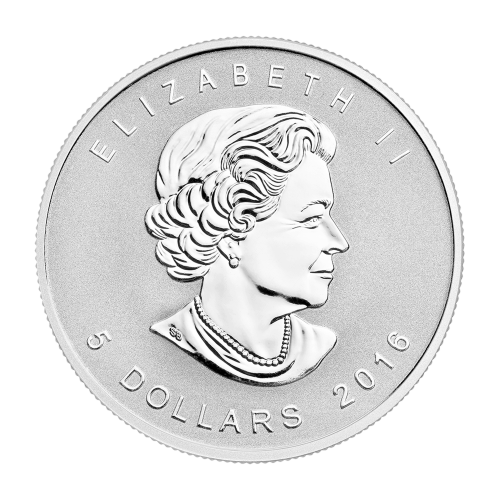 """Ahornblatt mit dem Ying und Yang Symbol als Sonderprägezeichen, sowie die Worte """"Canada 9999 Fine Silver 1 oz Argent Pur"""" (Kanada 9999 Feinsilber 1 oz reines Silber)."""