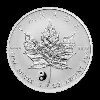 1 oz kanadische Silbermünze - Ahornblatt Yin Yang Sonderprägung - Polierte Platte (invertiert) 2016