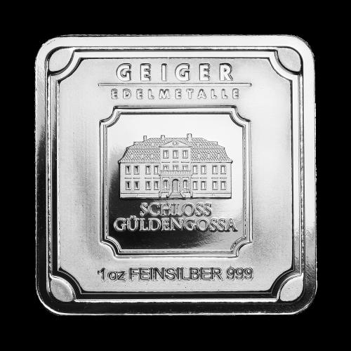 """Die Worte """"Geiger Edelmetalle 1 oz Feinsilber 999""""."""