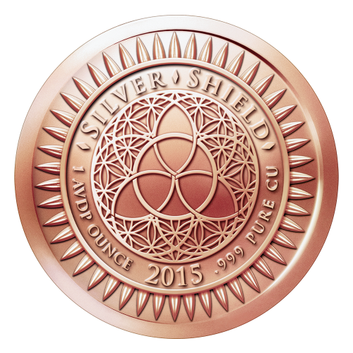 """Das revidierte Silver Shield Logo mit dem Trivium in der Mitte, eingekreist von den Worten """"Silver Shield 1 Troy ounce 2015 .999 Pure Cu"""" (Silver Shield 1 Troy-oz 2015 .999 reines Kupfer), umgeben von 47 Kugeln."""