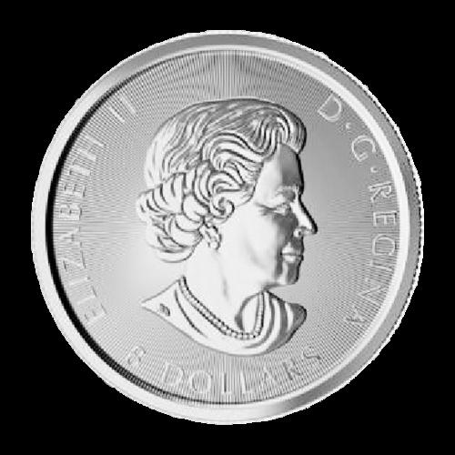 """Ein Schneefalke im Flug mit den Worten """"Canada 2016 Fine Silver 1 1/2 oz Argent Pur 9999"""" (Kanada 2016 Feinsilber 1 1/2 oz reines Silber 9999) und die Initialen des Künstlers."""
