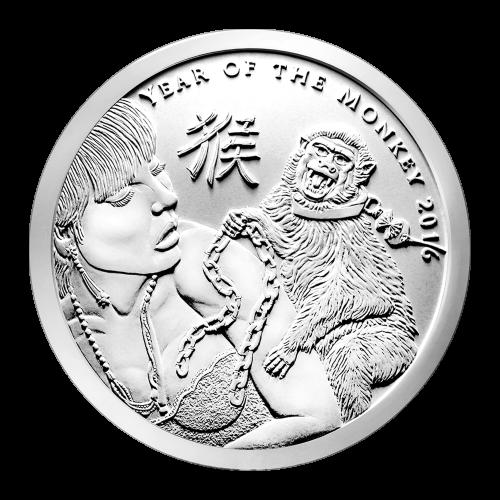 """Ein Affe auf einem Frauenrücken, mit dem Versuch sie, mit einer Kette von ewigen Schulden zu versklaven, die Worte """"Year of the Monkey 2016"""" (Jahr des Affen 2016) und das chinesische Schriftzeichen für Affe."""