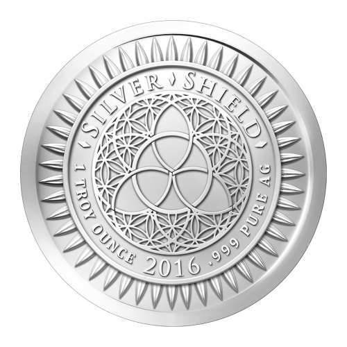 """Das Silver Shield Logo mit dem Trivium in der Mitte, eingekreist von den Worten """"Silver Shield 1 Troy ounce 2016 .999 Pure Ag"""" (Silver Shield 1 Troy-oz 2016 .999 reines Silber), umgeben von 47 Kugeln."""