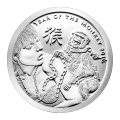 1 oz 2016 Silver Shield Year of the Monkey Silver Round