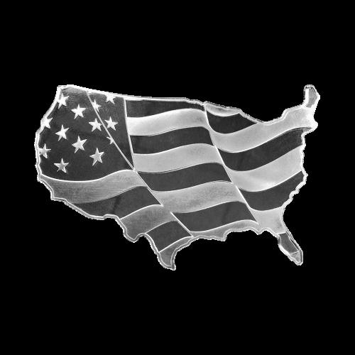"""Rückansicht der kontinentalen vereinigten Staaten von Amerika, das Elemetal Logo und die Worte """"Elemetal 5 Troy Ounces 999 Fine Silver"""" (Elemetal 5 Troy-oz 999 Feinsilber)"""