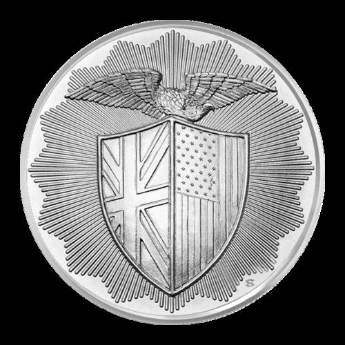 Ein Schild mit dem Union Jack (England-Flagge) auf der linken Seite und der amerikanischen Flagge auf der Rechten, darüber ein Adler der seine Flügel ausstreckt.