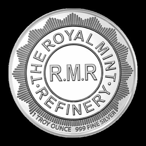"""Mittige Kreise und die Worte """"The Royal Mint Refinery R.M.R. 1 Troy Ounce 999 Fine Silver"""" (Die königliche Prägeanstalt Raffinerie R.M.R. 1 Troy-oz 999 Feinsilber)."""