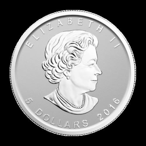"""Ahornblatt mit einer Sonderprägung eines brüllenden Bären und die Worte """"Canada 9999 Fine Silver 1 oz Argent Pur"""" (Kanada 9999 Feinsilber 1 oz reines Silber)."""