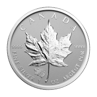 1 oz kanadische Silbermünze - Ahornblatt Graubär Sonderprägung - Polierte Platte (invertiert) 2016