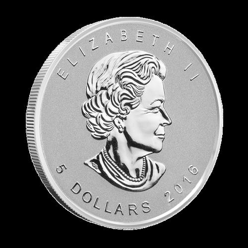 """Ahornblatt mit einer """"Mark V Panzer"""" Sonderprägung und die Worte """"Canada 9999 Fine Silver 1 oz Argent Pur"""" (Kanada 9999 Feinsilber 1 oz reines Silber)."""