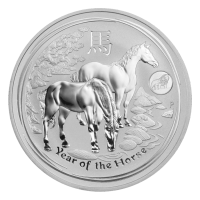 1 oz Silbermünze mit Löwen Sonderprägung - Jahr des Pferdes - Perth Prägeanstalt 2014